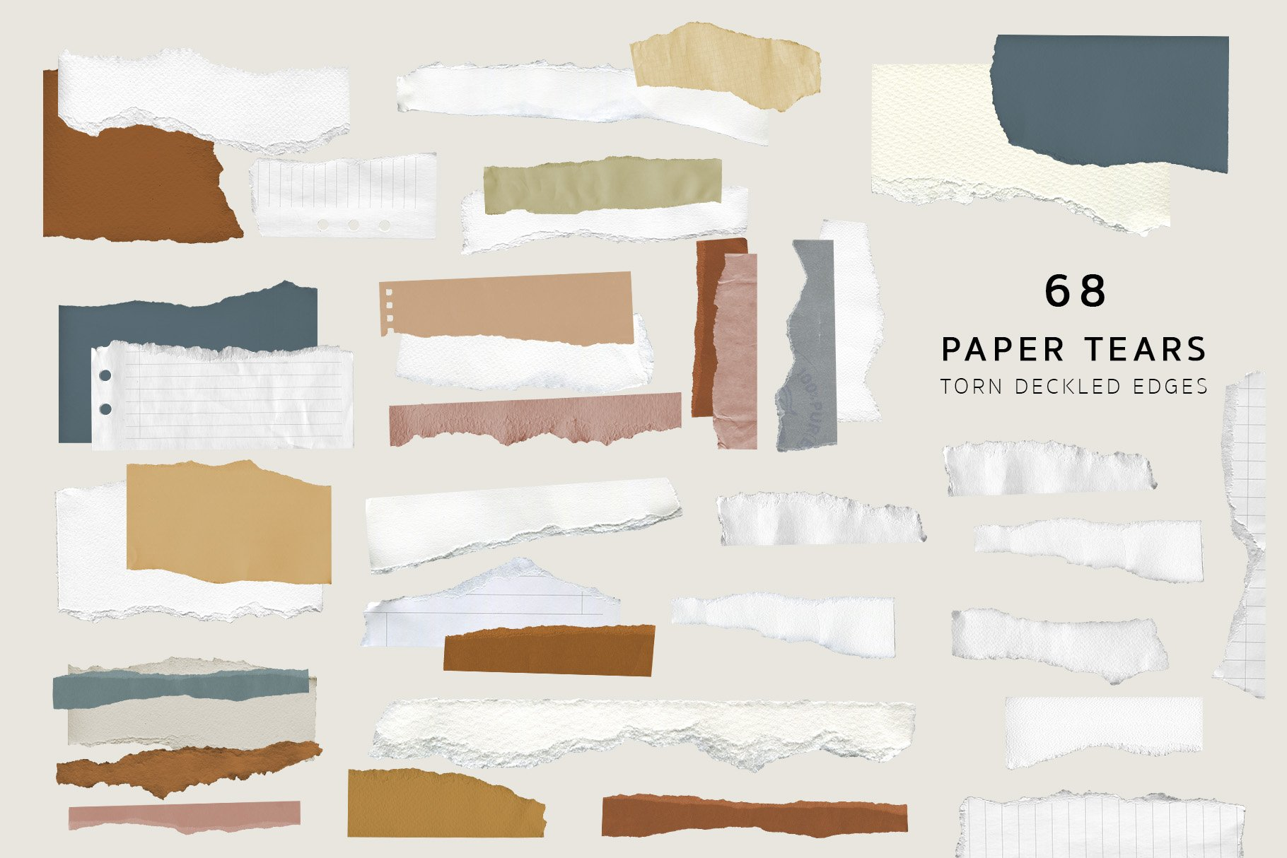 Part of the texture in the different colors. Abstract Torn Deckled Paper Edges.