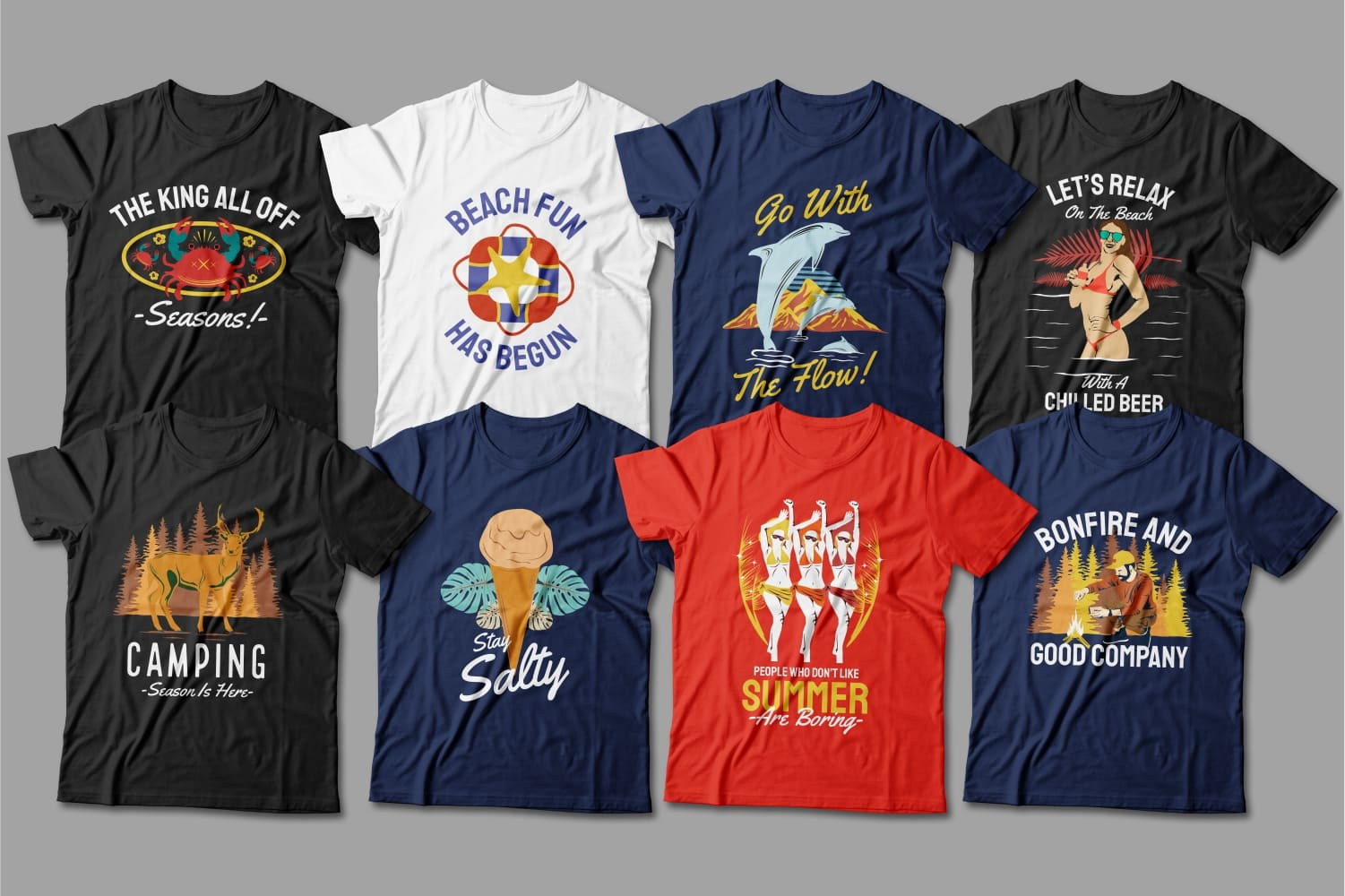 Summer T-shirts featuring happy people on vacation.