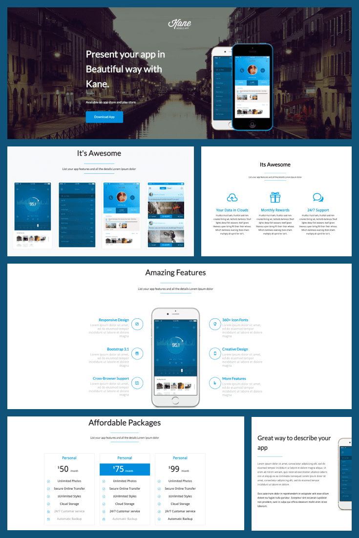 The template is designed in blue and white. Consists of text blocks, graphics and infographic elements.