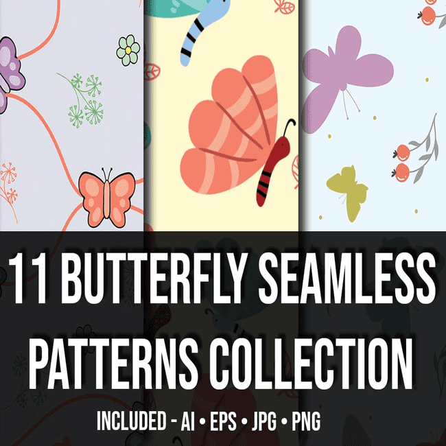 11 Butterfly Seamless Patterns Collection_Main