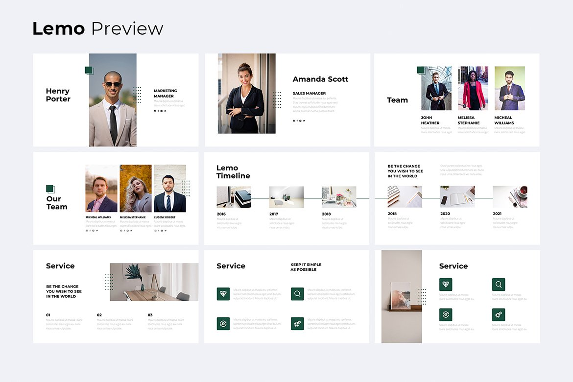 Slide with team and main functions. Business Minimal Presentation Template
