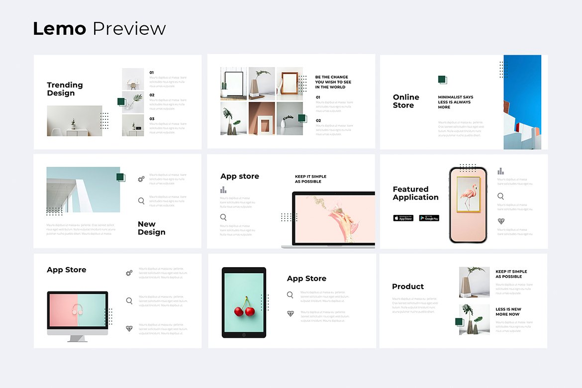 Slide with advantages. Business Minimal Presentation Template.