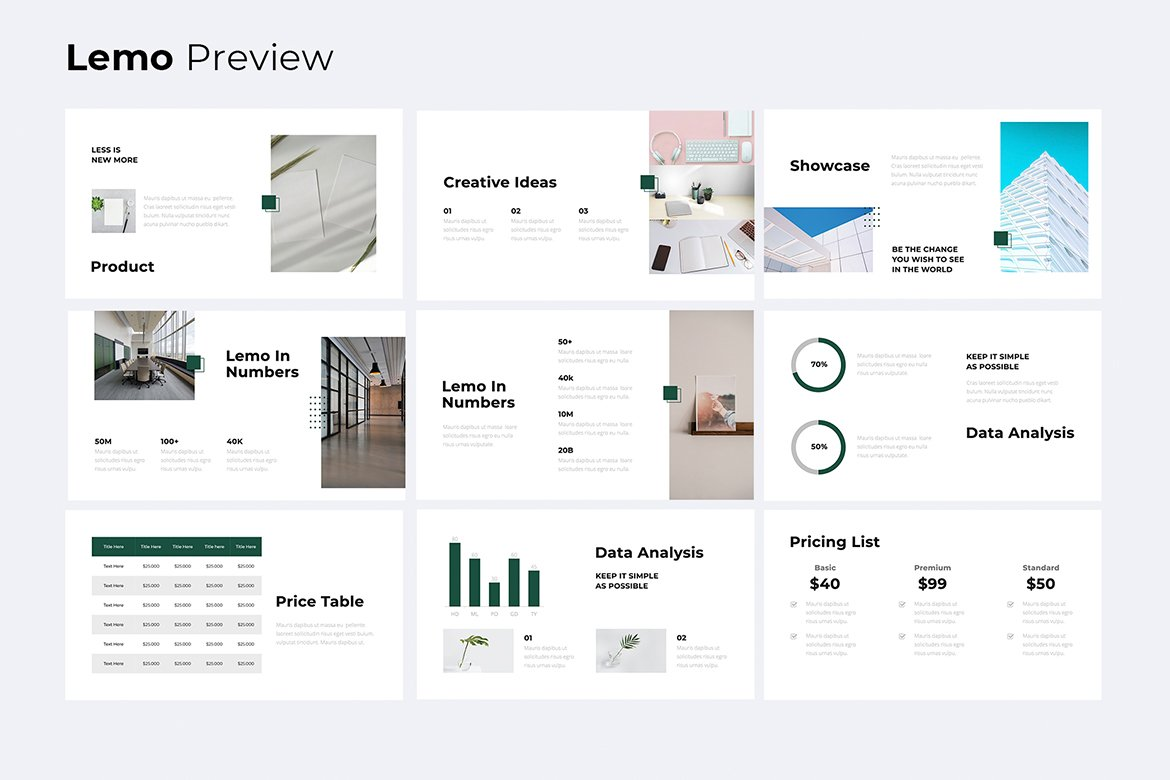 Slide with infographics. Business Minimal Presentation Template.