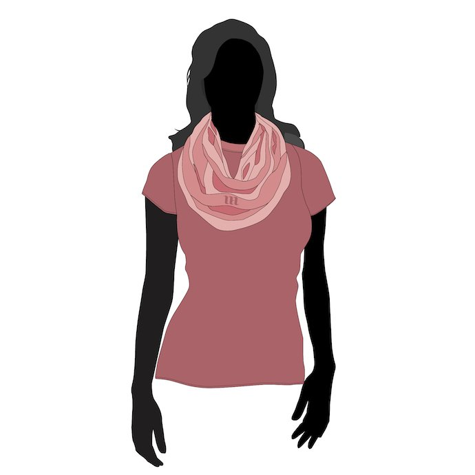 Young women in the pink scarf.