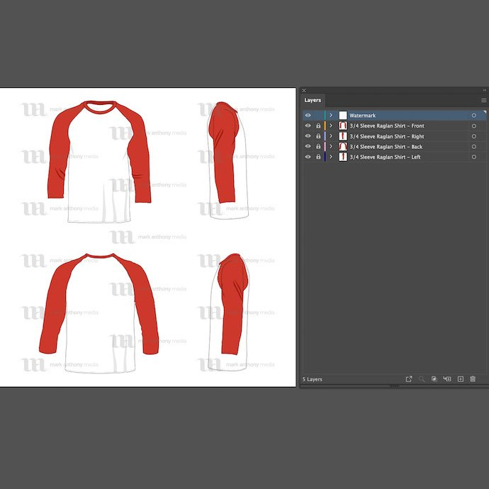 General view of the raglan men's 3/4 sleeveshirt template. You can choose any extension to download.