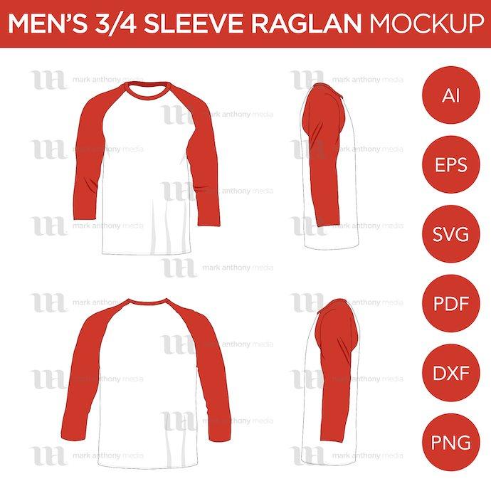 Mens_3-4_Sleeve_Raglans_Shirts_Mockup_Template_Main.