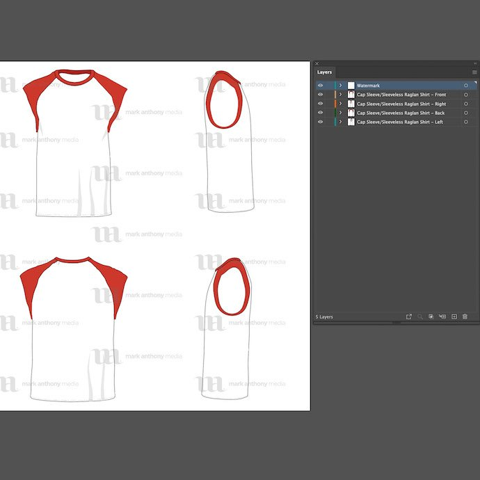 General view of the Raglan men's cap sleeve/sleeveless shirt template. You can choose any extension to download.