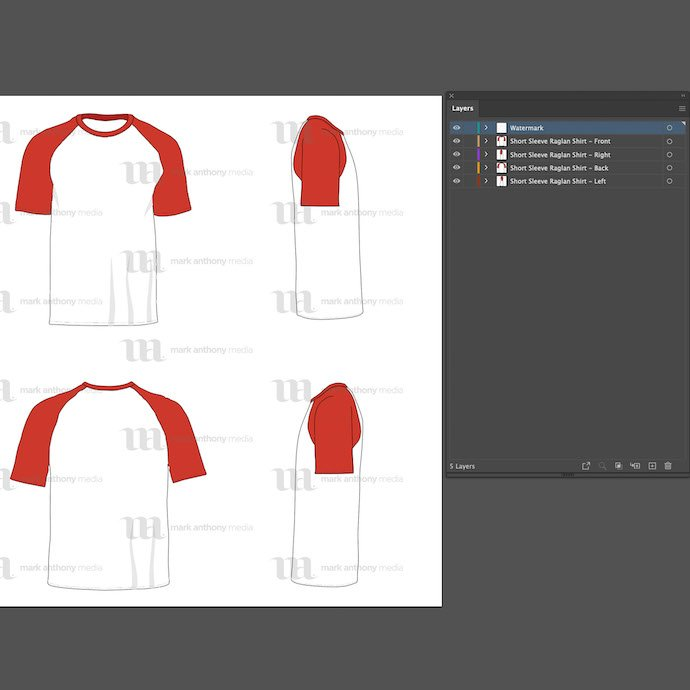 General view of the Tank Top Mockup template. You can choose any extension to download. Raglan Men's Short Sleeve Shirt Vector Mockup.