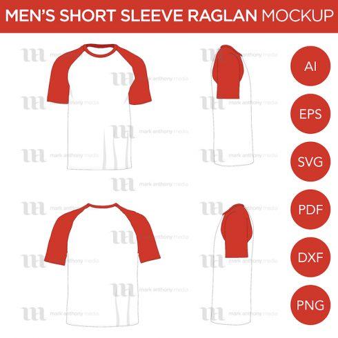 Raglan Men's Short Sleeve Shirt Vector Mockup.