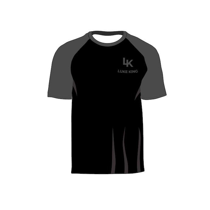 Black raglan with logo. Raglan Men's Short Sleeve Shirt Vector Mockup.