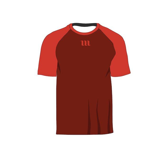 Red raglan with logo. Raglan Men's Short Sleeve Shirt Vector Mockup.
