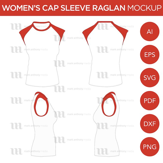General view of the template for work. Raglan Women's Cap Sleeve/Sleeveless Shirt.
