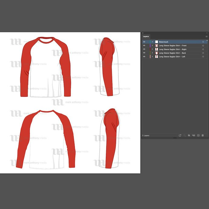 General view of the Tank Top Mockup template. You can choose any extension to download. Raglan Men's Long Sleeve Shir Vector Mockup.