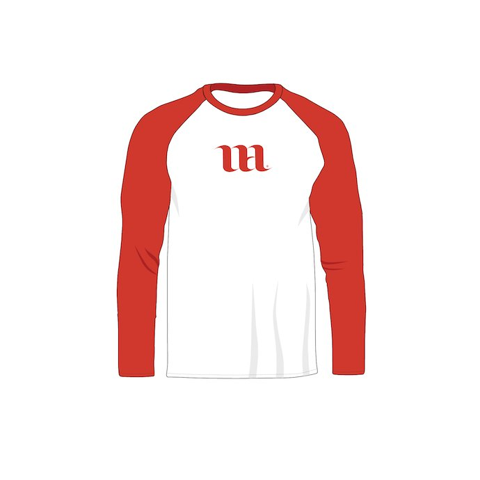 Red raglan with white elements and with logo. Raglan Men's Long Sleeve Shir Vector Mockup.