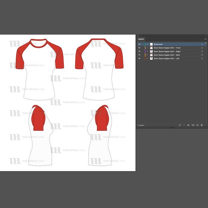 General view of the template for work. Raglan Women's Short Sleeve Shirt.