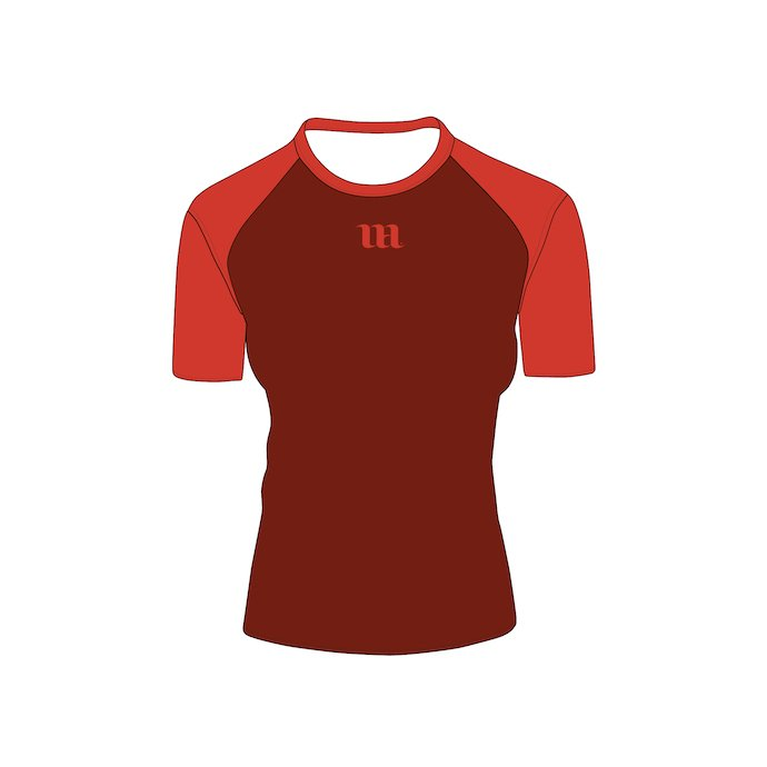 Red T-shirt with short sleeves. The color on the sleeves is slightly different and there is a logo.