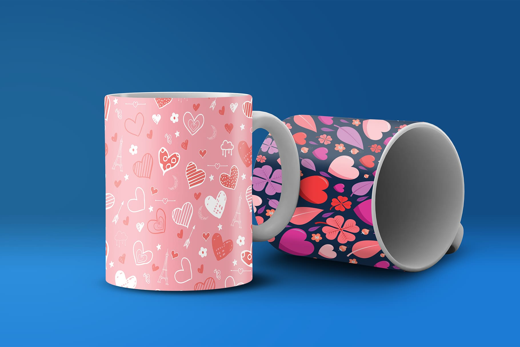Two cups with hearts.