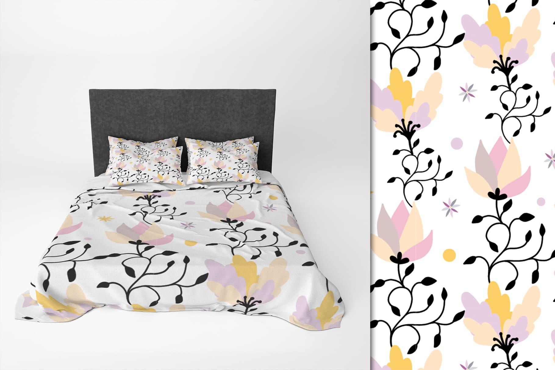 White linens with lotus prints.