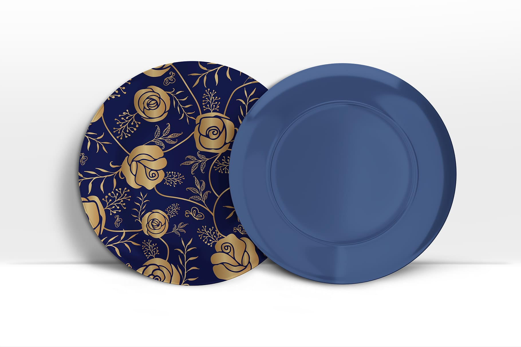 Luxurious blue plates with golden roses.