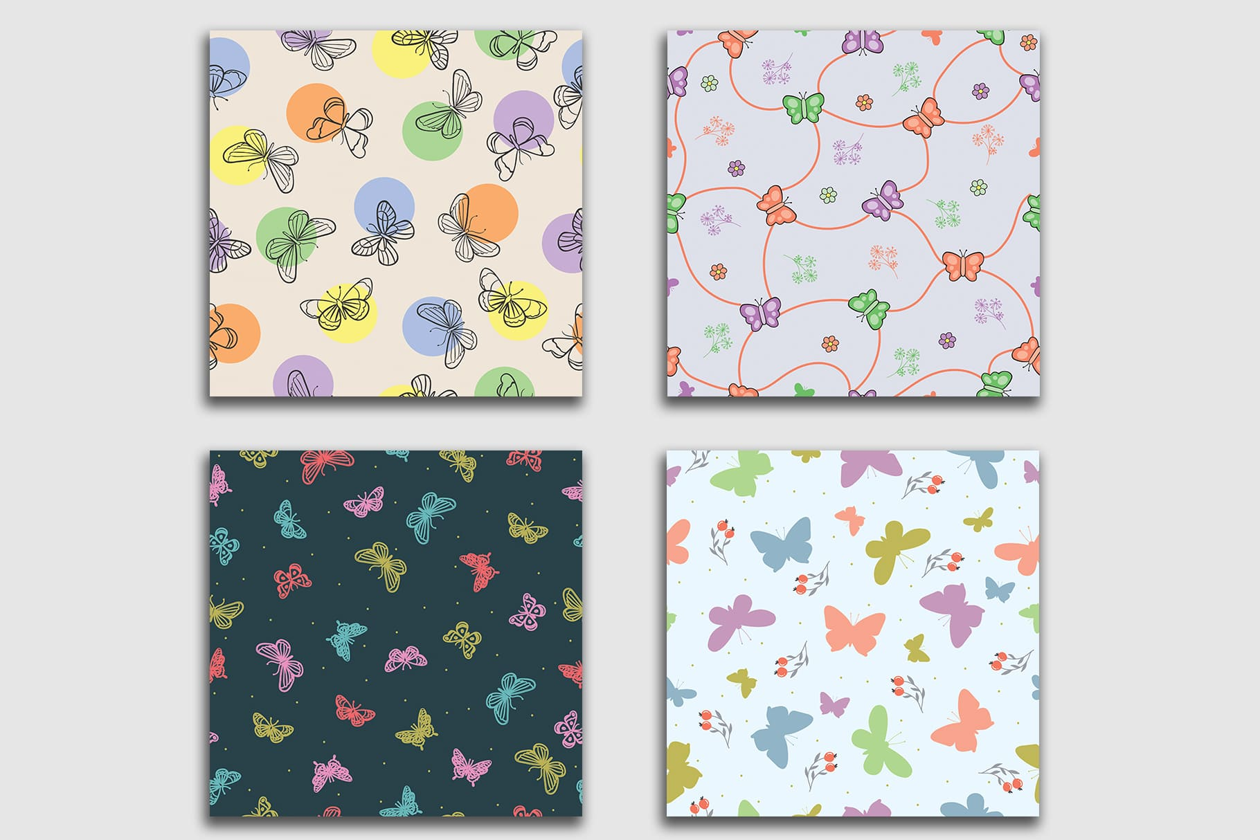 Excellent in color combination and choice of graphic elements of the tiles. Butterfly Seamless Patterns Collection.