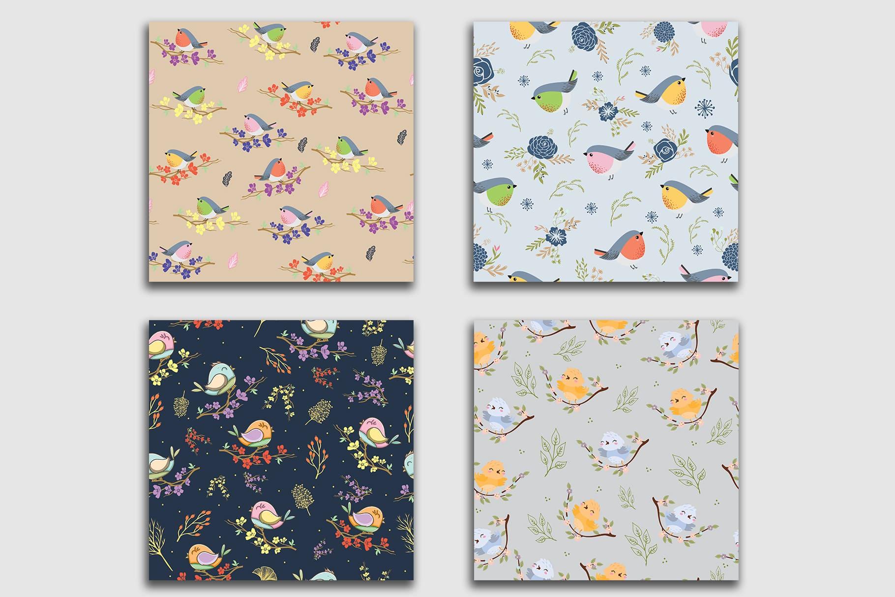 Square tiles in pastel colors depicting little birds.