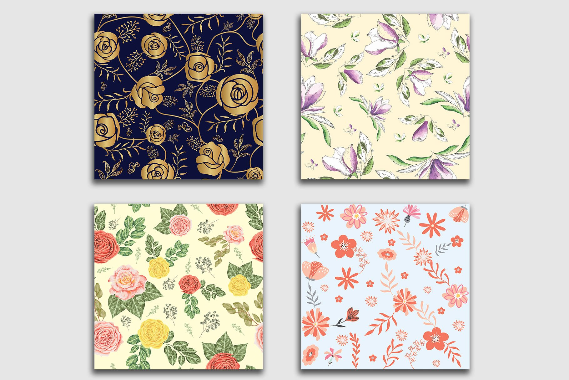 Luxurious floral tiles will brighten your kitchen. Floral Seamless Patterns Collection.