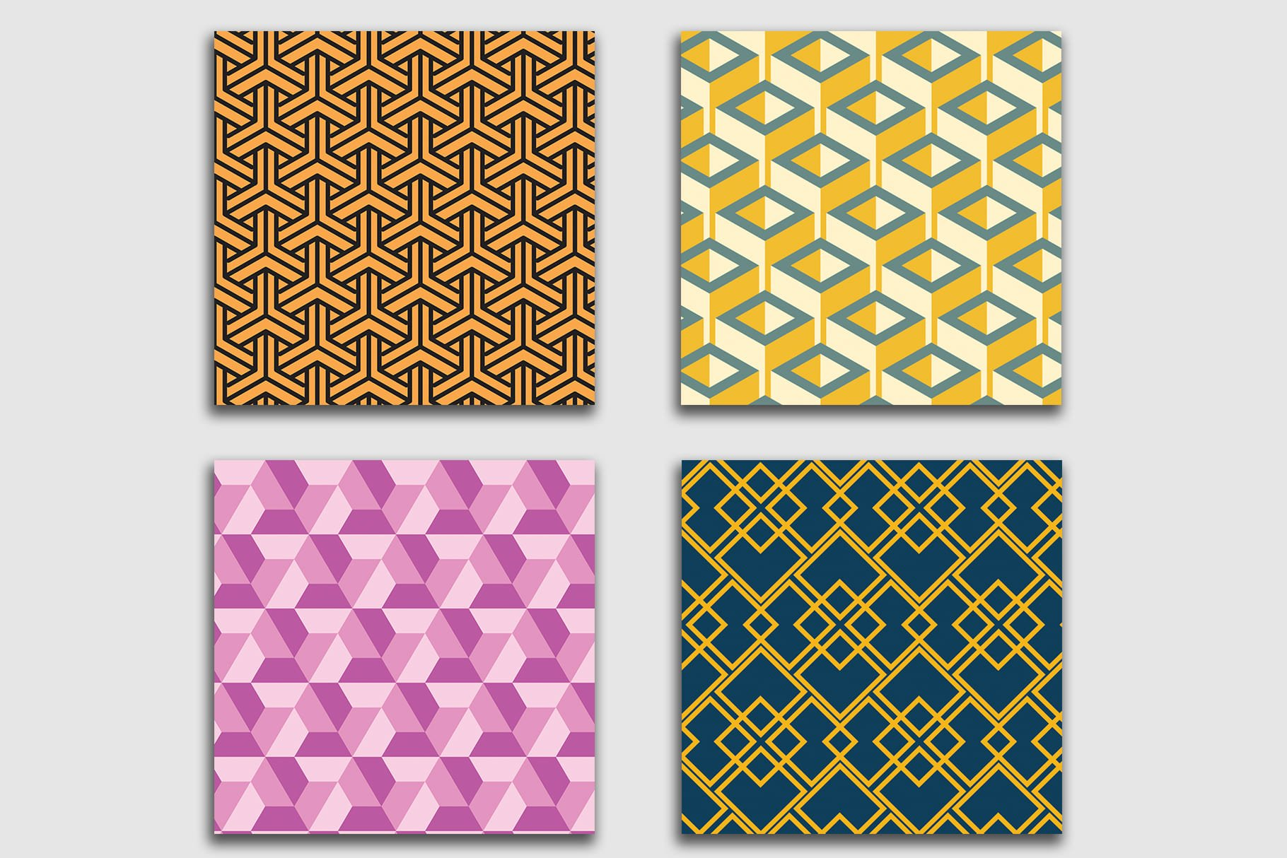Beautiful tiles in the style of geometric cubism.