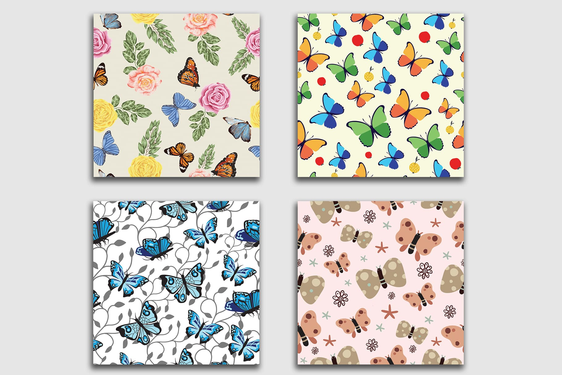 Delicate background color and cute butterflies will look great in your interior.