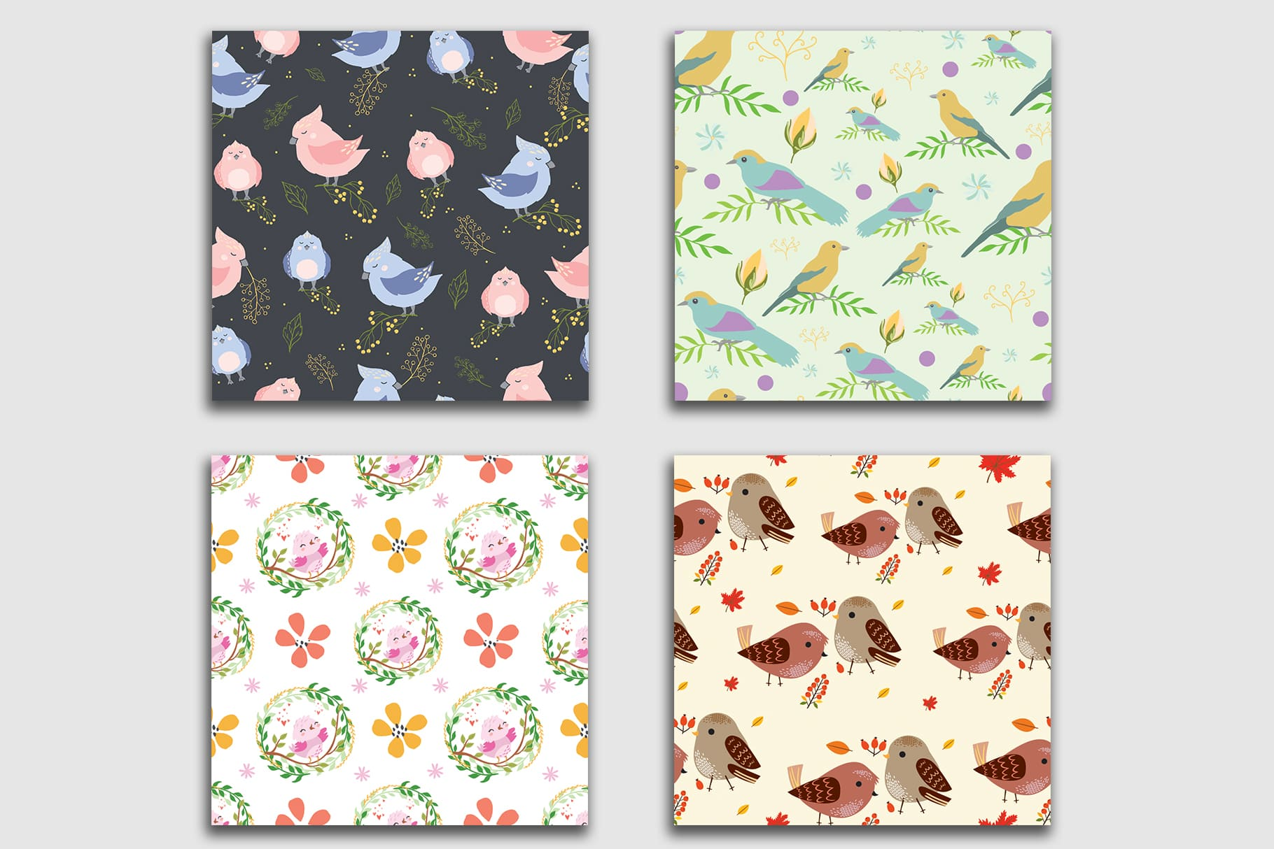 Square tiles in different moderate colors with different types of birds.