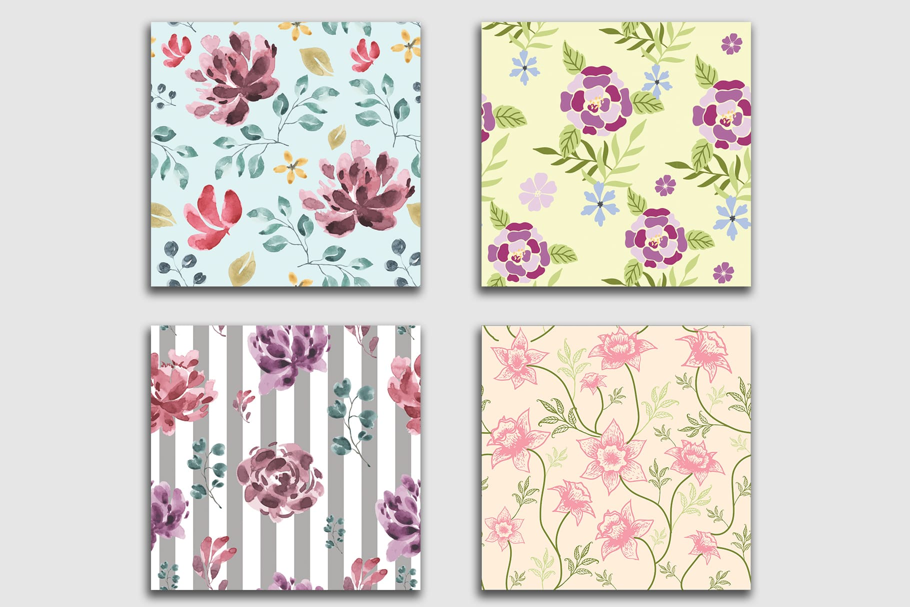 Beautiful floral tiles in different colors.Floral Seamless Patterns Collection.