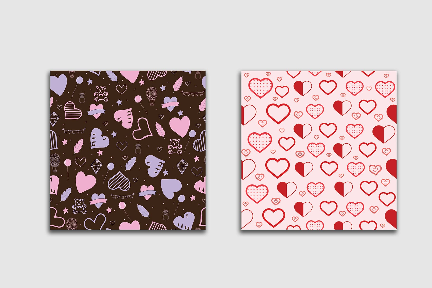 Two tiles. One is pink with hearts, the other is brown with soft pink hearts.
