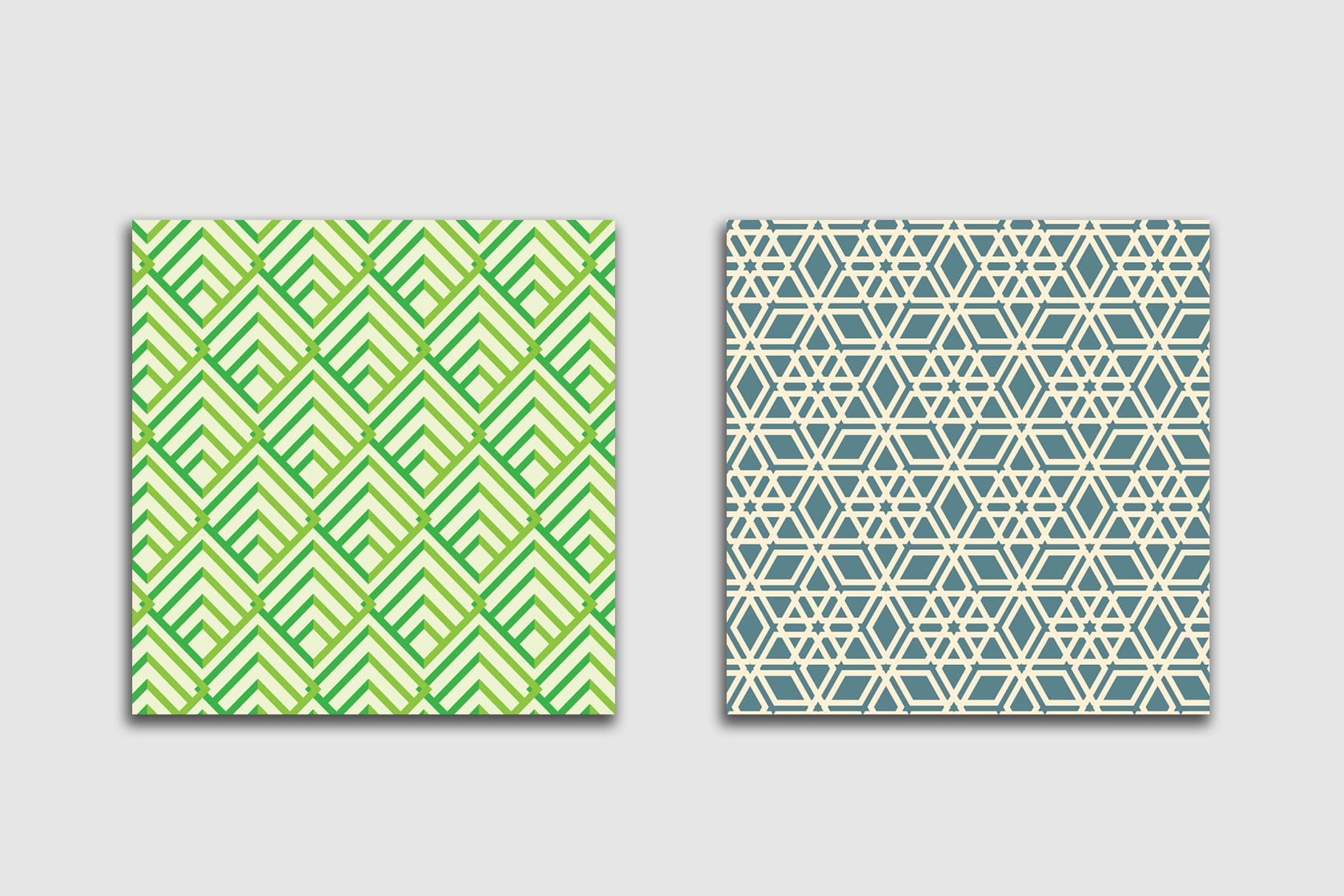 Delicate tiles in herringbone geometry. Presented 2 pieces in two shades of green.