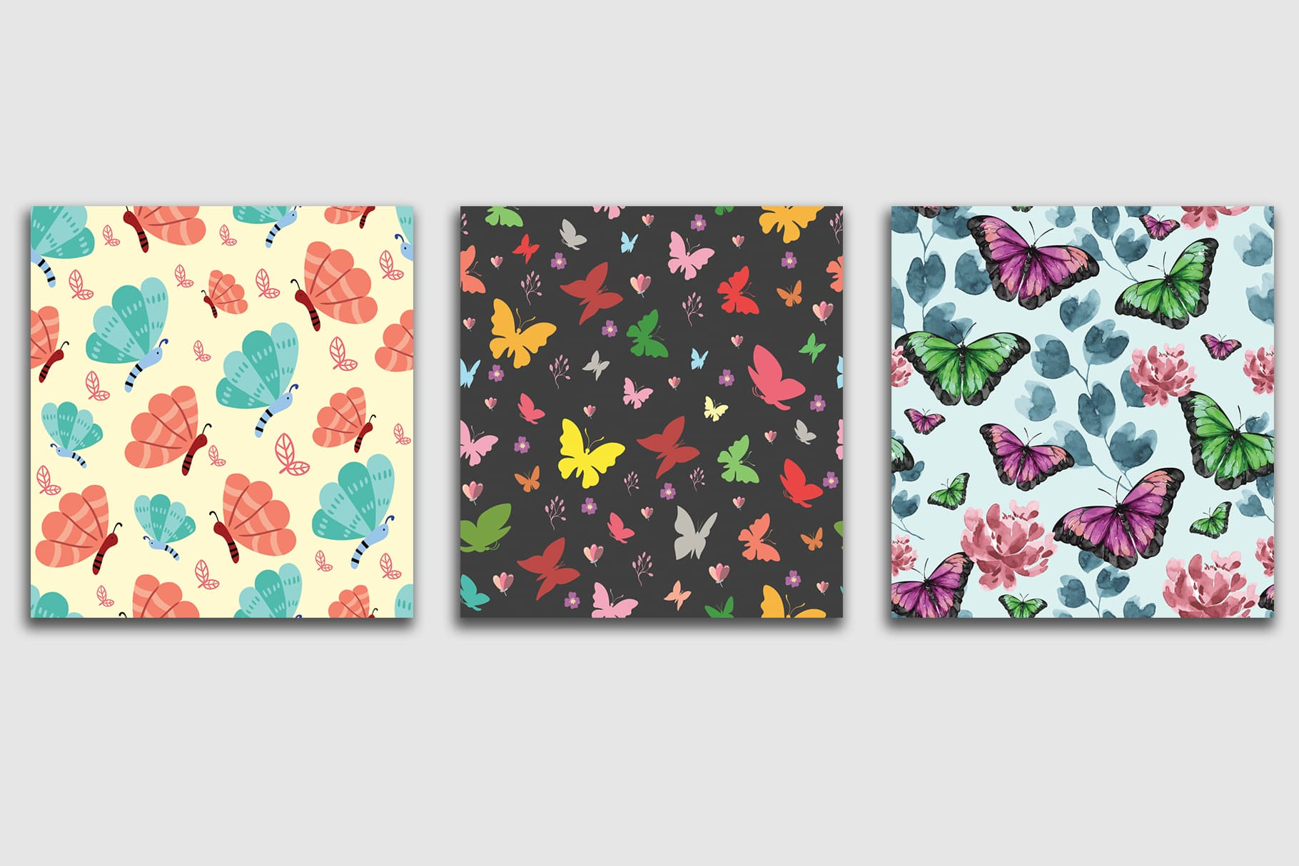 Three tiles in different colors and with different types of butterflies.