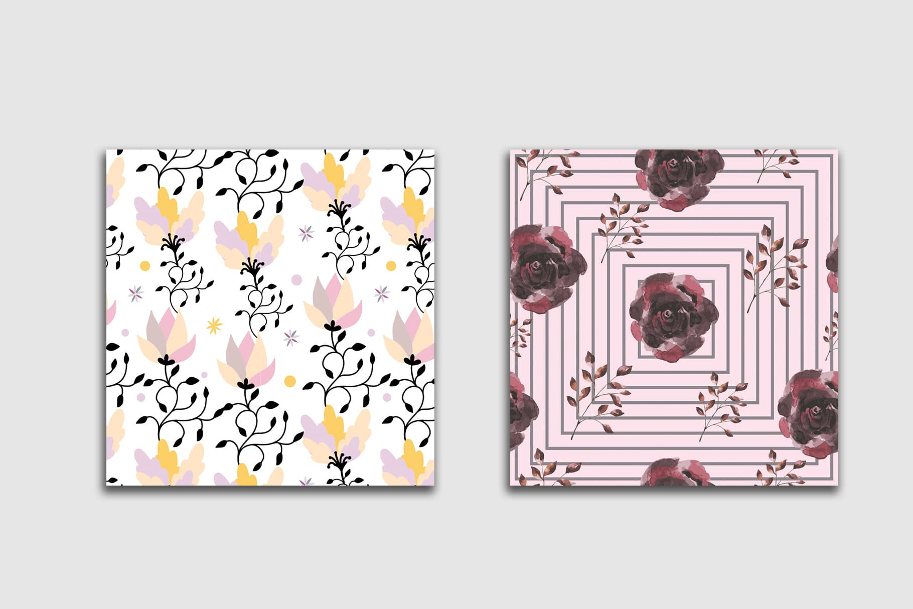 Delicate tile with the image of a lotus flower and a rose. Floral Seamless Patterns Collection.