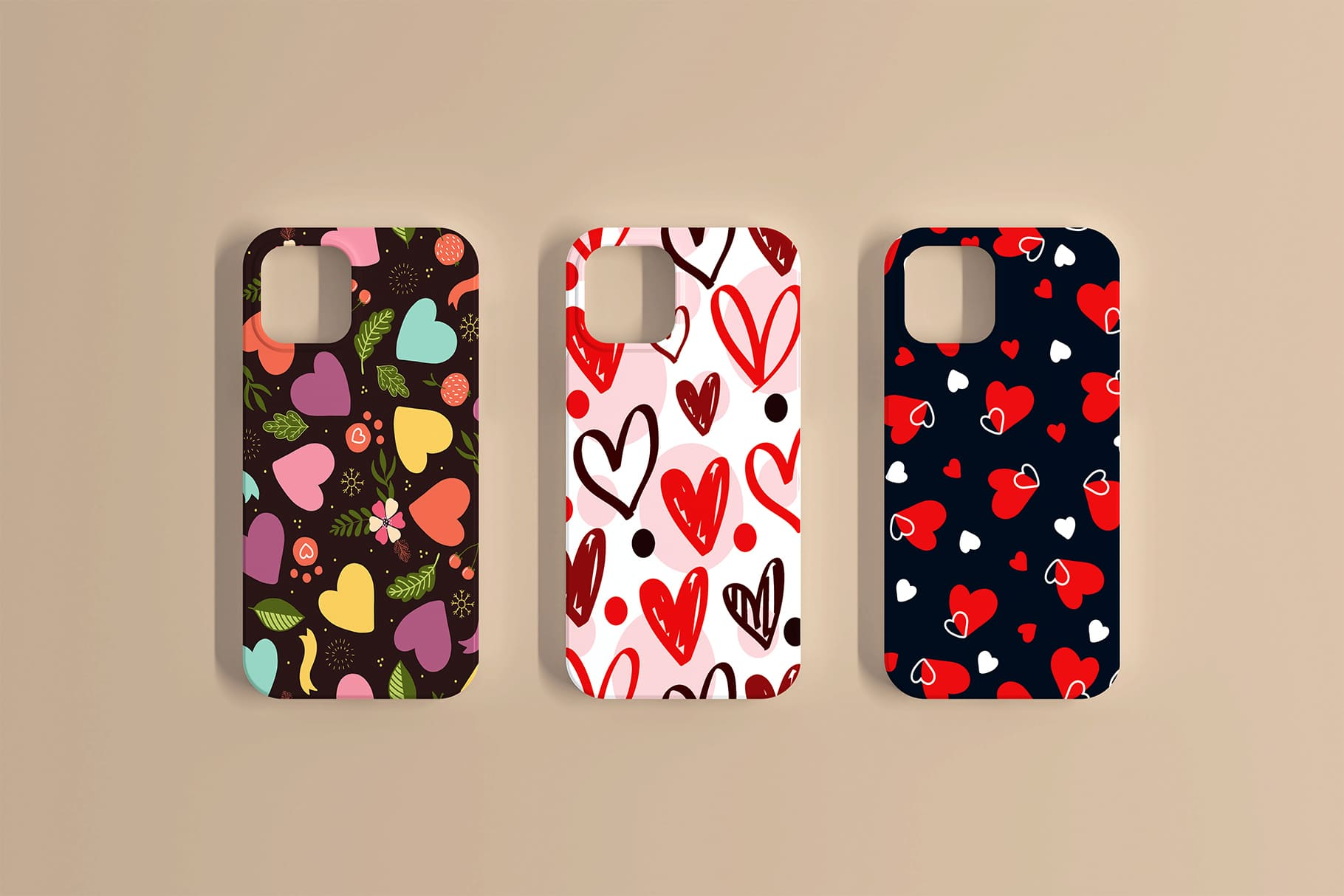 Phone cases in three colors and with different heart options.