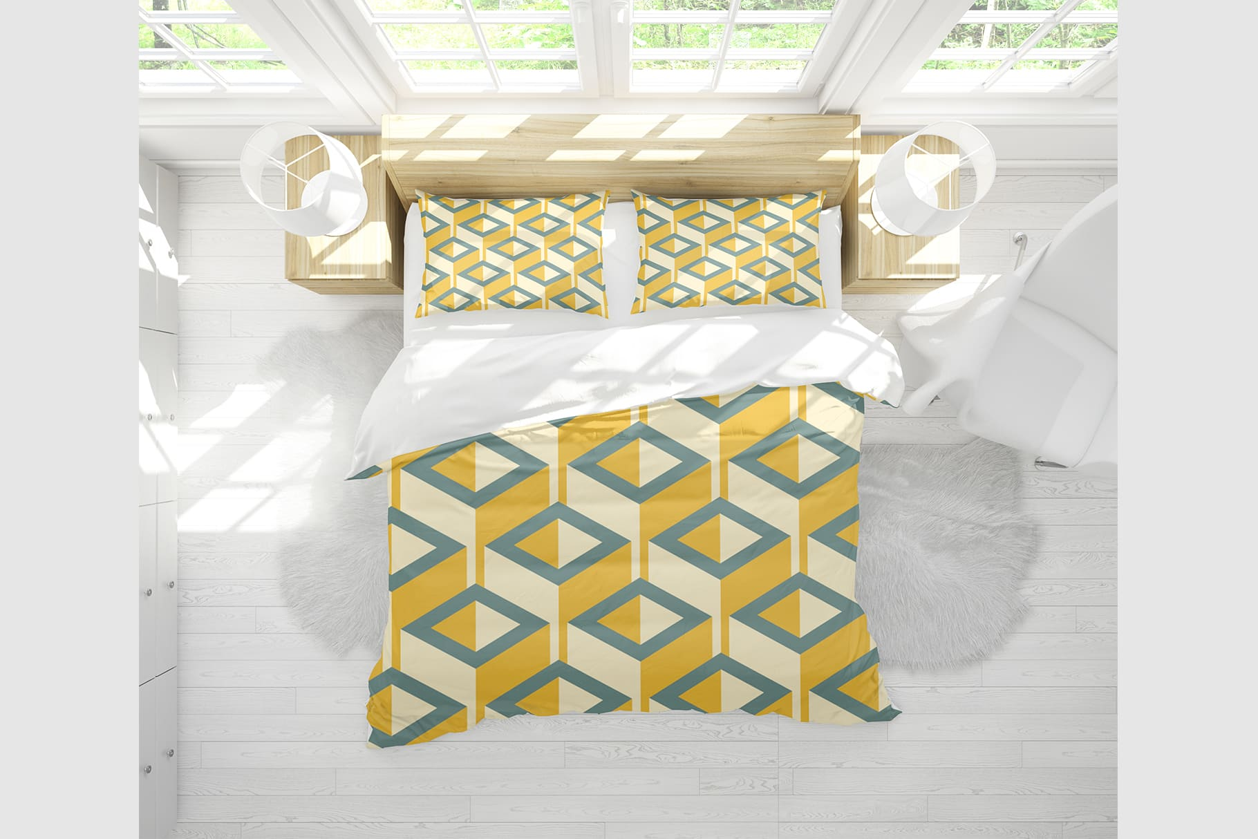 Beautiful bed linen in soft lemon color with geometric cubism print.
