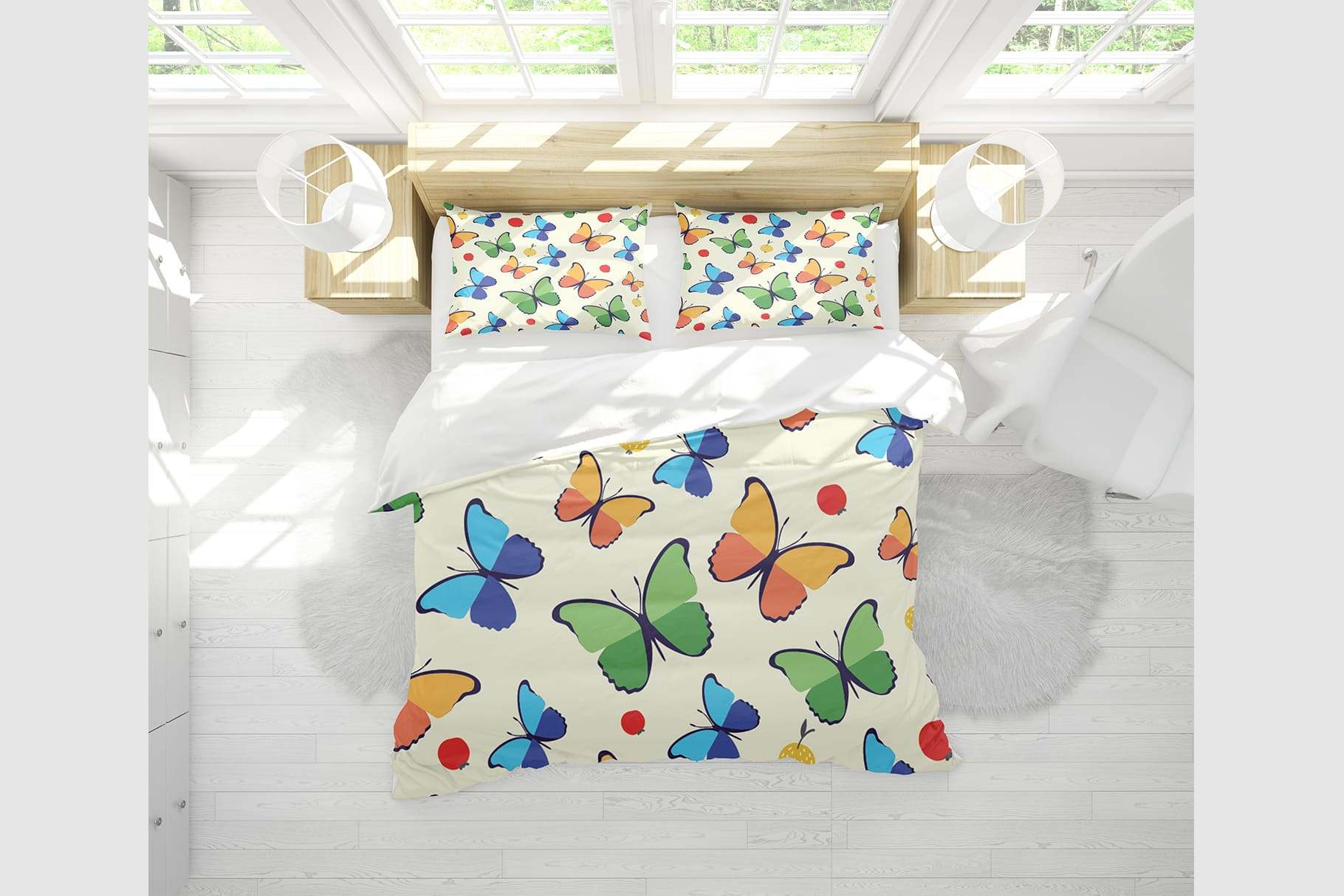 Delicate bed linen in light lemon color and with butterflies.