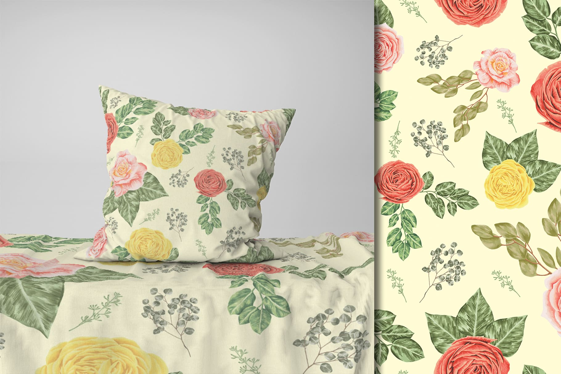 Such delicate bedding. The main color is pistachio, and flowers are embossed on it with gentle lemon color.