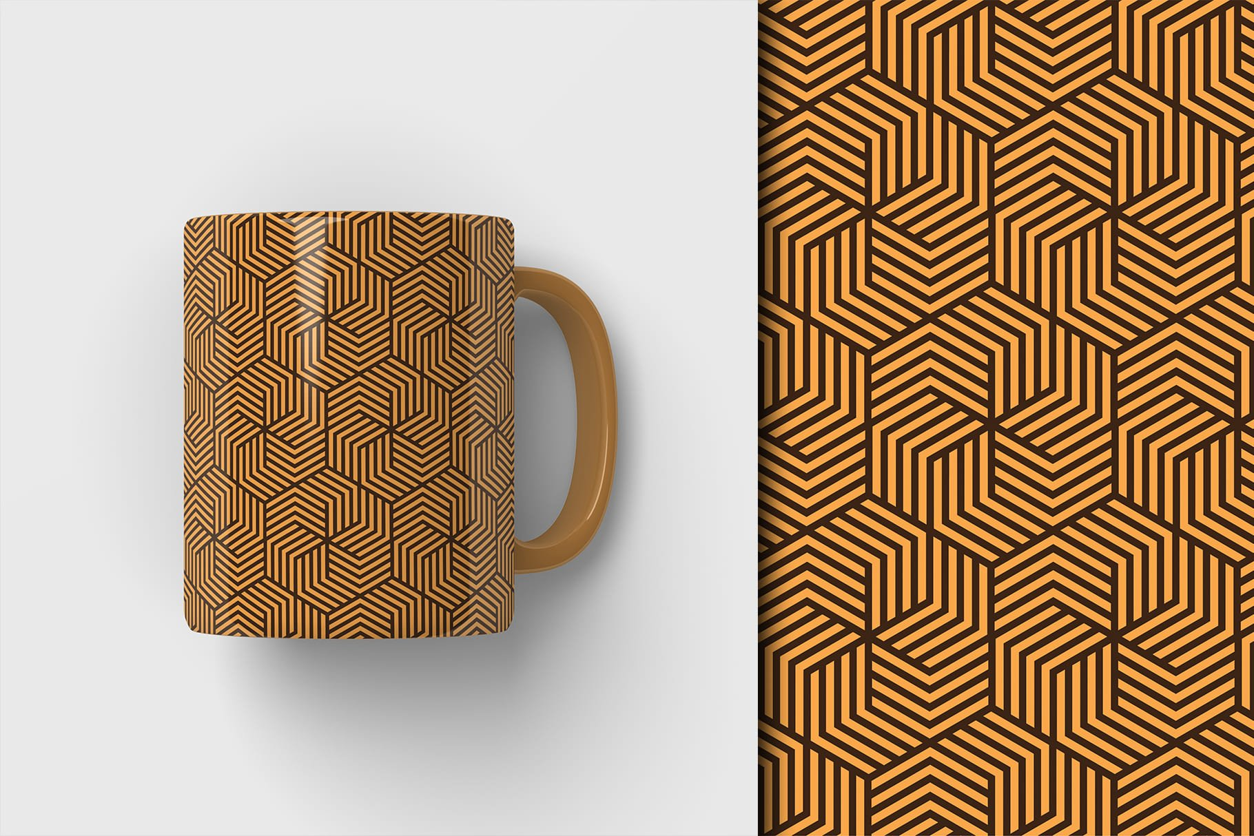 Brown cup with a small herringbone print.