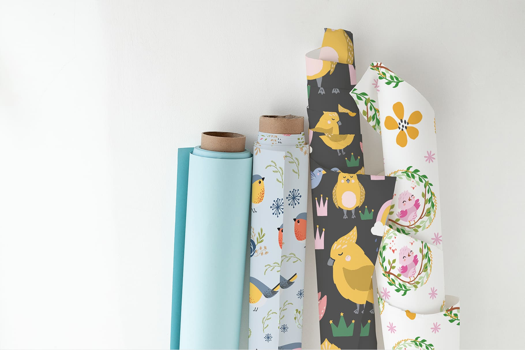 Festive wrapping paper. There are both with the image of birds, and in pastel colors without graphics.