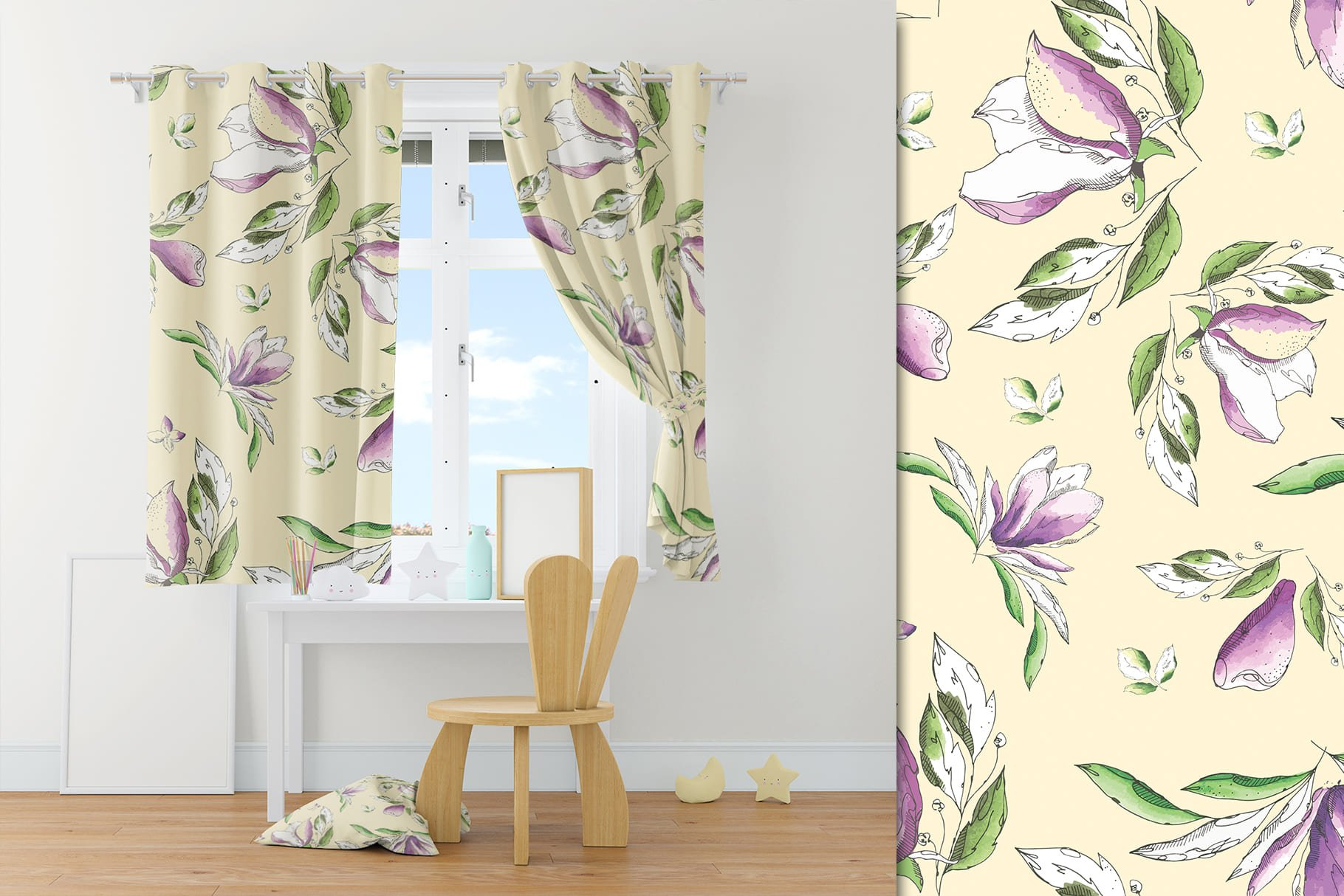 50s USA style curtains. Delicately lemon color with a picture of orchids.