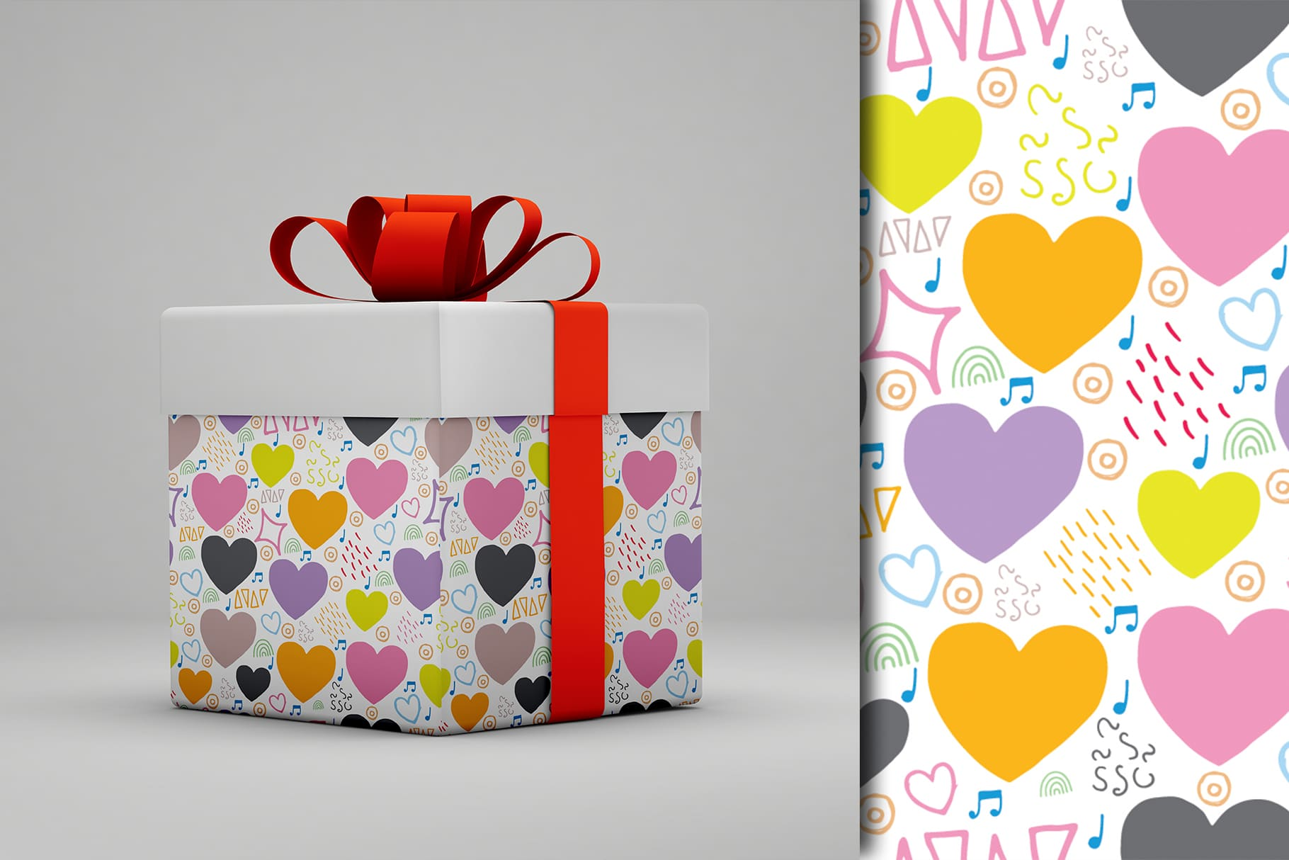 Large white gift box with a bow and hearts.