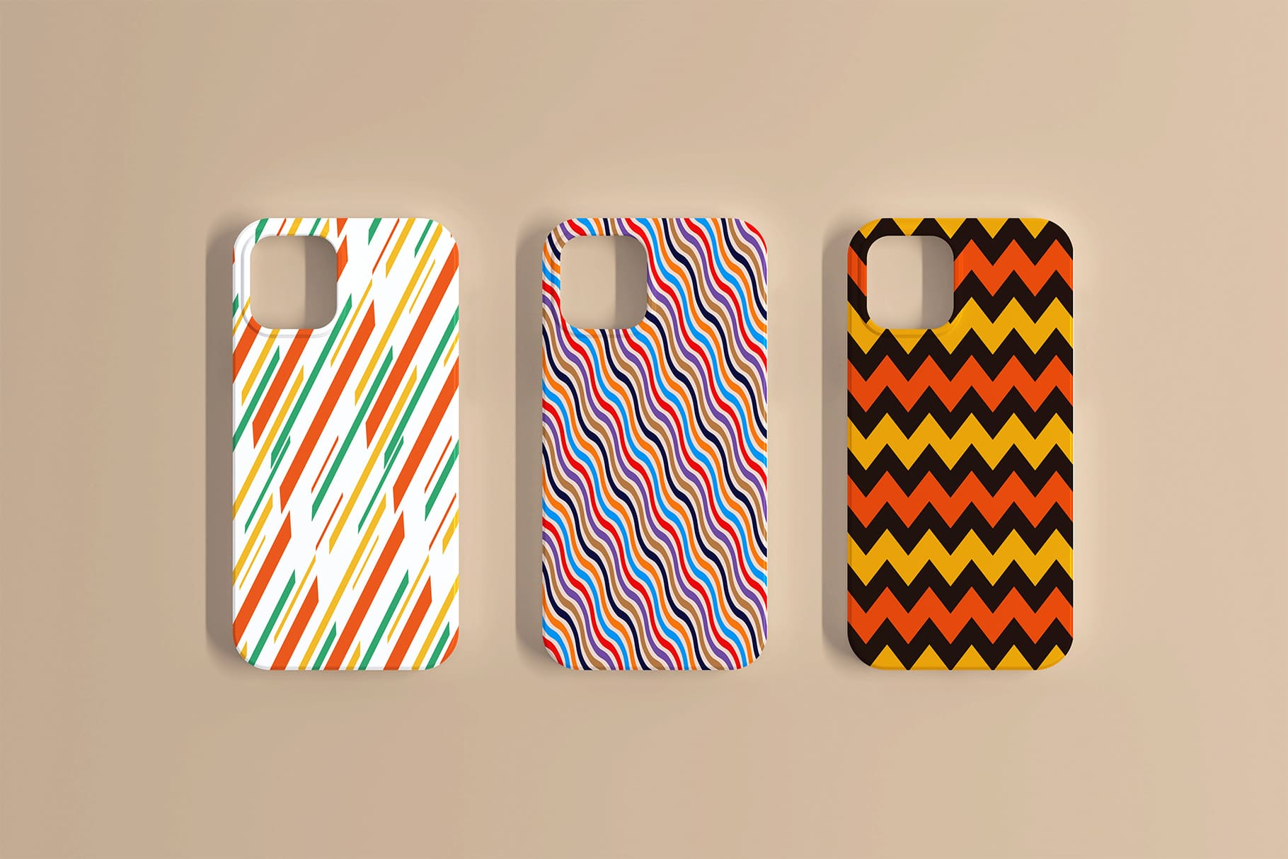 Stylish bright cases for iPhone. Multi Liner Seamless Patterns Collection