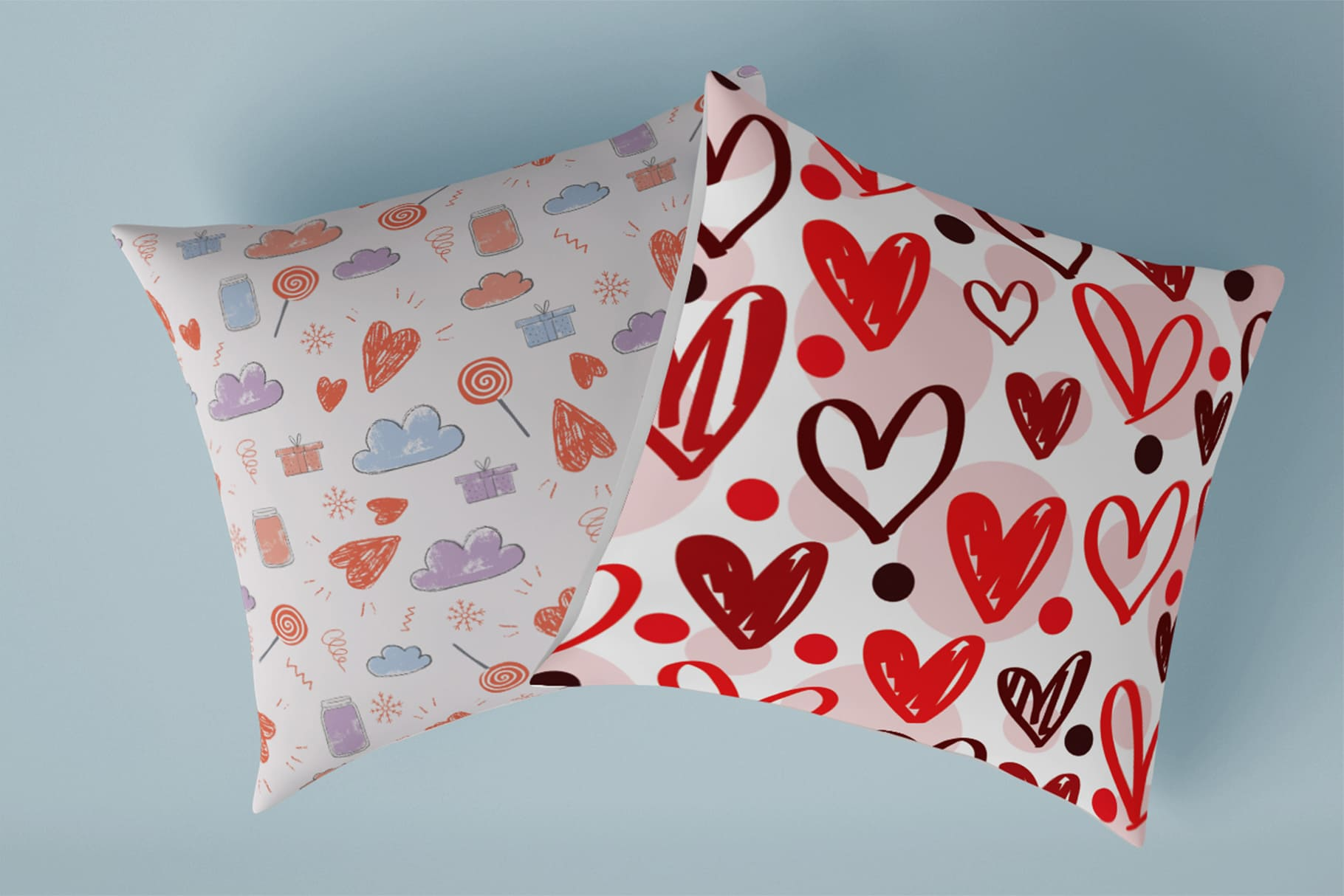 Decorative pillows with hearts.