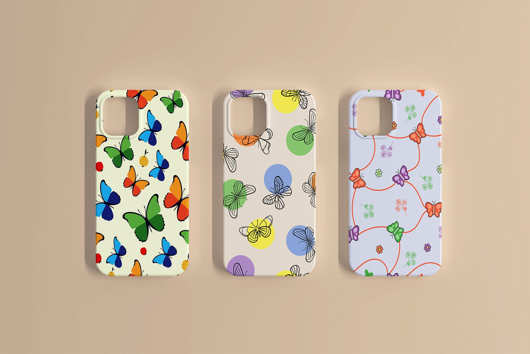 Cases for iPhone in different colors with butterflies.