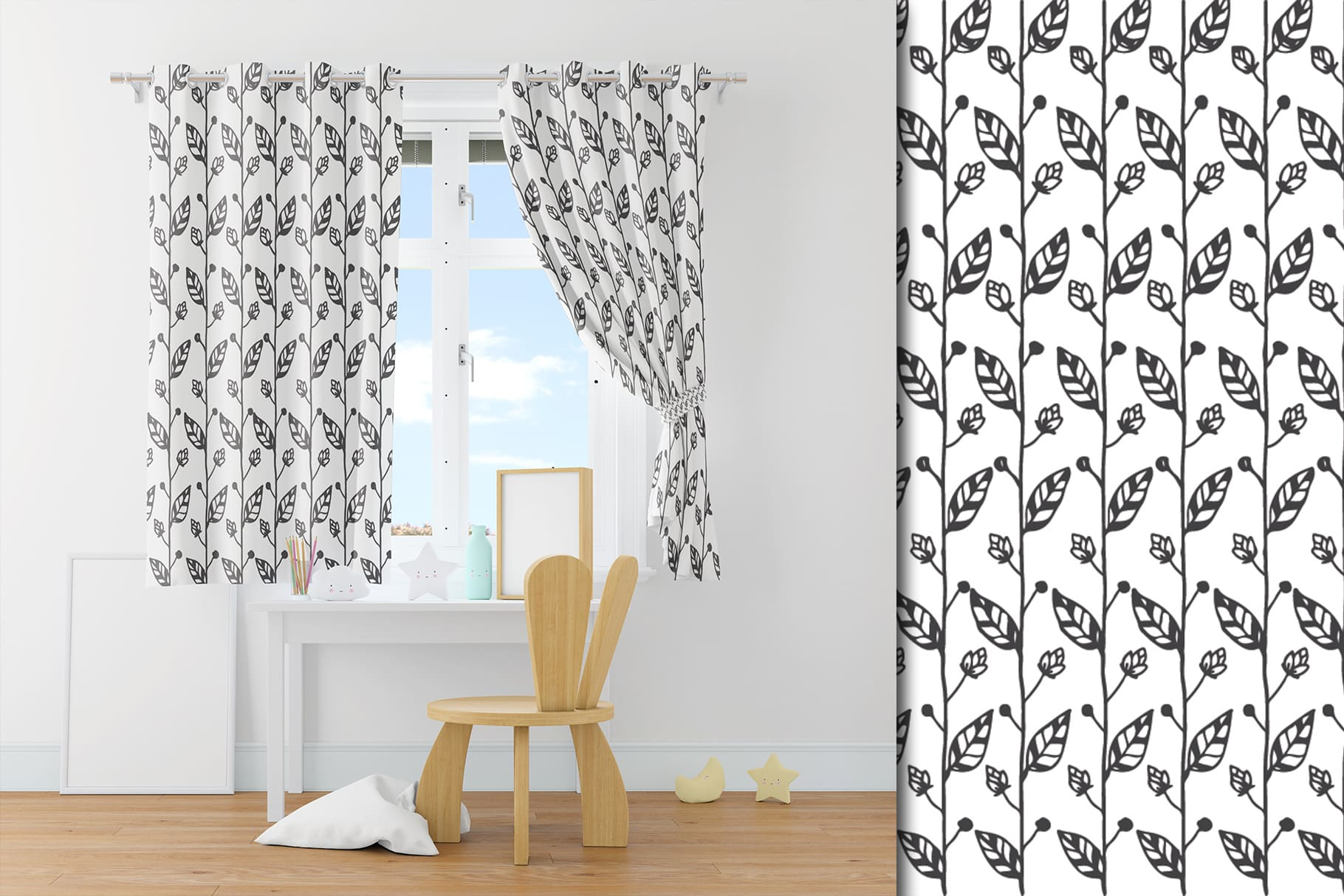 Short curtains with a white background and a black pattern.