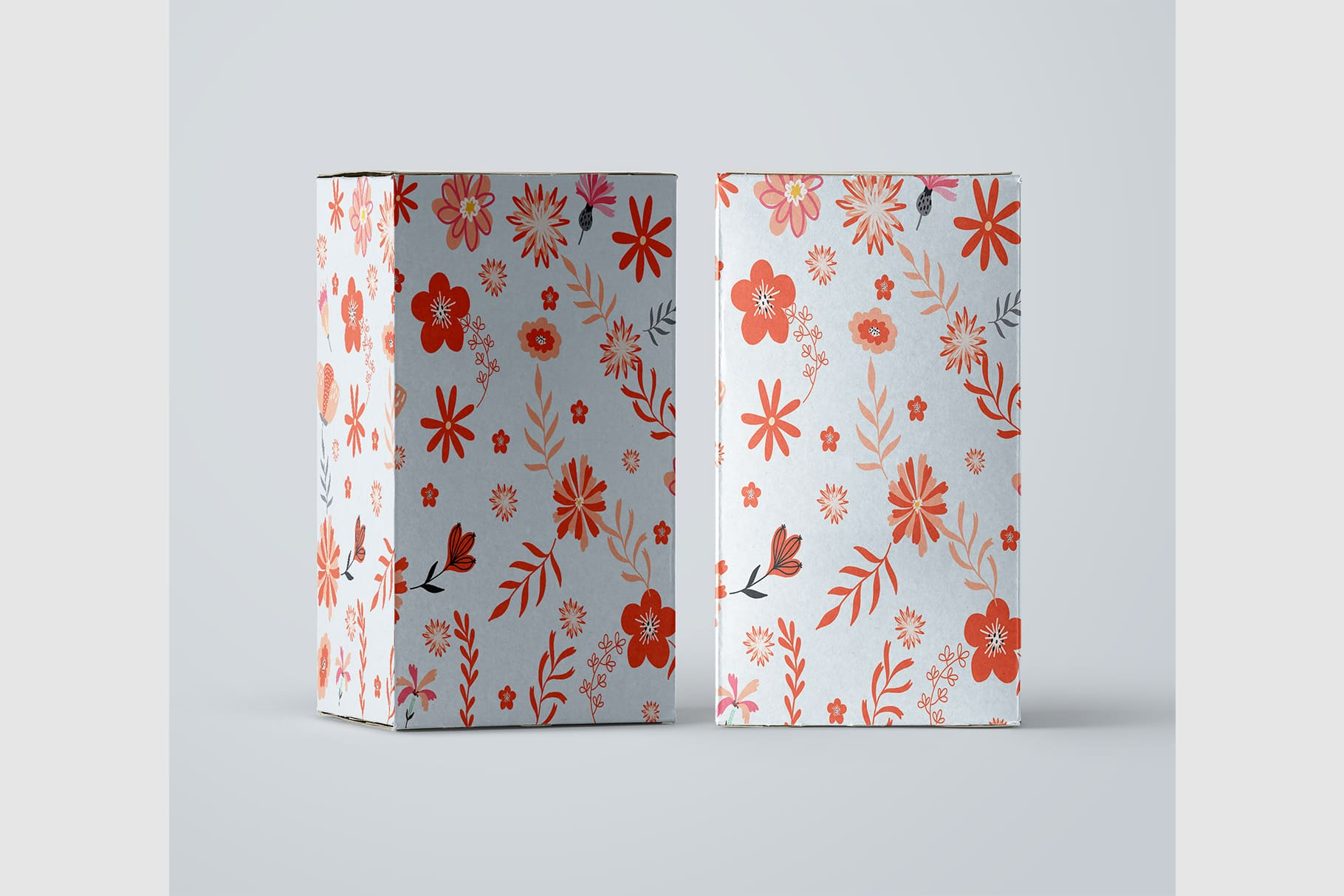 Gift box in white with flowers.