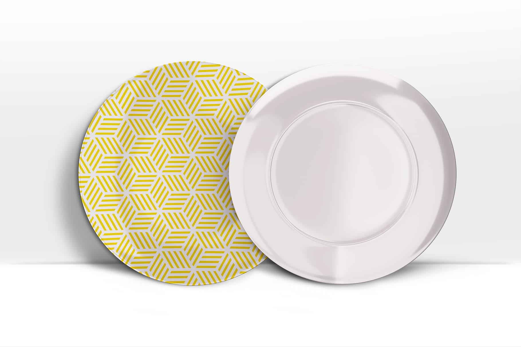 Very stylish ceramic plate. White with yellow print.