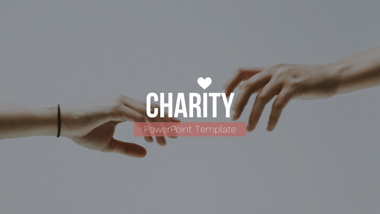 Hands reaching out to each other on a gray background with the inscription on a magenta background. Charity Presentation.