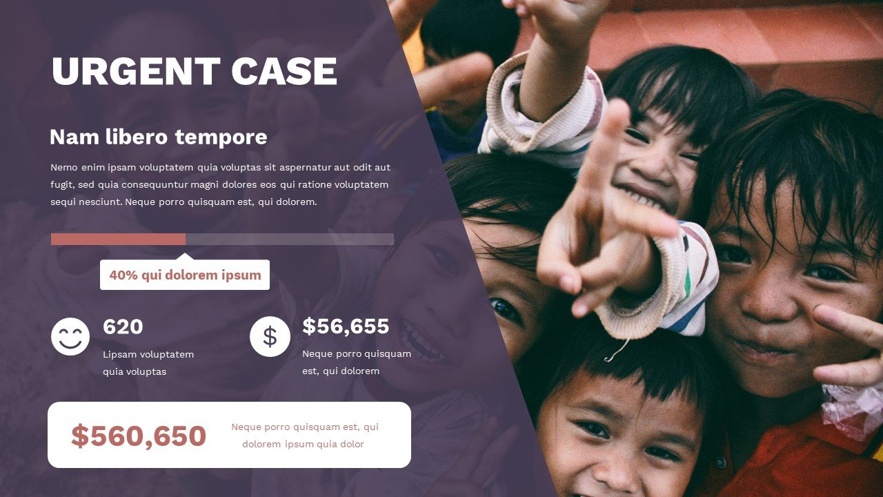 A very emotional slide with happy faces of children. Here you can provide an illustrative infographic and explain everything in the most understandable way. Charity Presentation.